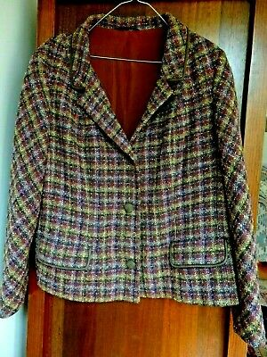 Vintage Purple Coloured Tweed Sumrie Wool Jacket Made In The UK, About Size 14