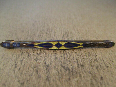 Antique Sterling Silver & Guilloche Enamel Bar Brooch, Unsigned, 2.6g