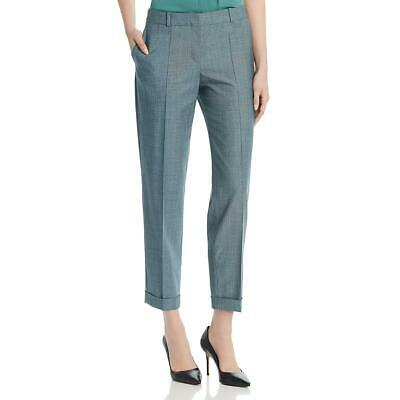 BOSS Hugo Boss Womens Tocanes2 Blue Virgin Wool Plaid Trouser Pants 14 BHFO 4763