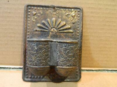 Ornate Design Brass or Tin Tole Double Match Holder Wall Hanging  Antique