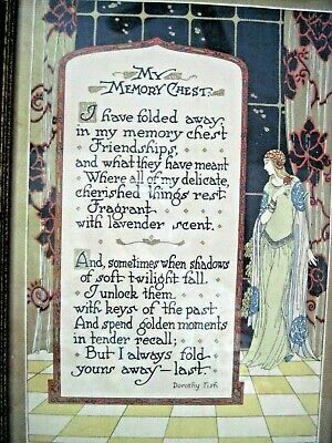 Vintage Art Nouveau My Memory Chest Buzza Style Motto Dorothy Fish Wood Framed