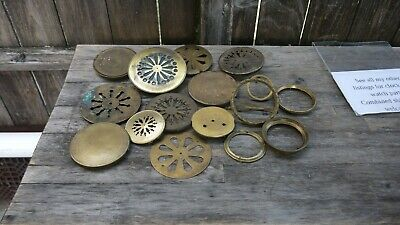 large group of antique french mantle clock  brass back doors & bezel parts