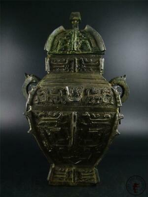 Very Large Antique Old Chinese Bronze Made Pot Vase Statue Collectibles