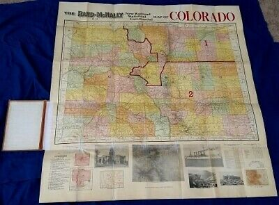 "COLORADO MAP 1910 RAND McNALLY STATISTICAL COMMERCIAL RAILROAD 41 x 43"" w FOLDER"