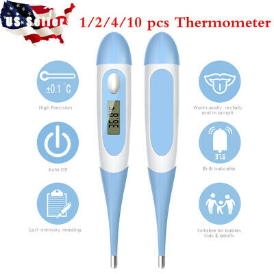 10pcs Digital LCD Thermometer Medical Teal Body Safe Soft Electronic Thermometer
