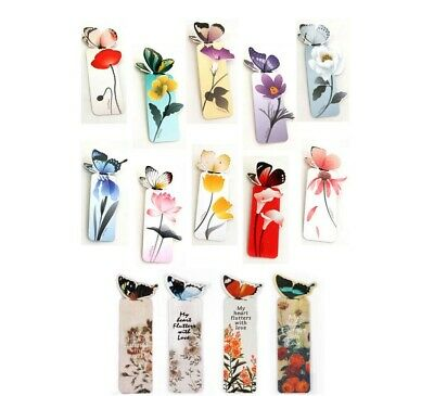 4 pcs Butterfly Shape Unique Floral Bookmarks Book Markers Gift For Readers UK