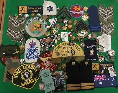 Collection of mixed badges, buttons, patches, oddments. Military, police, civil.