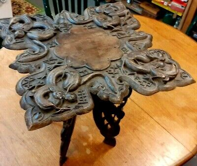 Antique Carved Wooden Chinese Folding Table