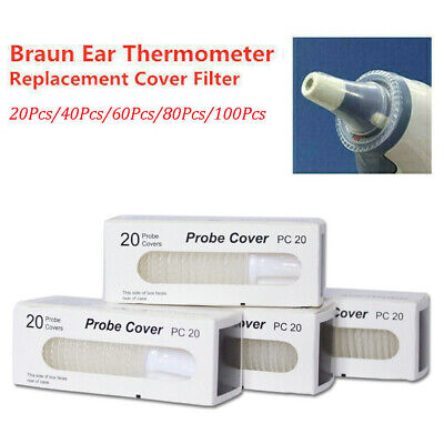 20-100 Braun Probe Covers Thermoscan Replacement Lens Ear Thermometer Filter Cap