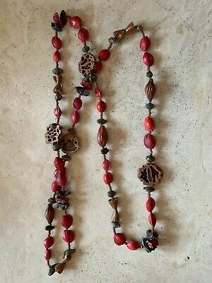 Antique Chinese Pendant Necklace Carved Nuts Beads