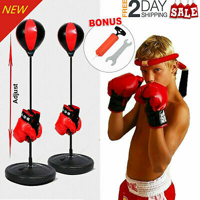 Punch Bag Ball Boxing Set Mitts Gloves Free Standing Kids Play Gift Adjustable