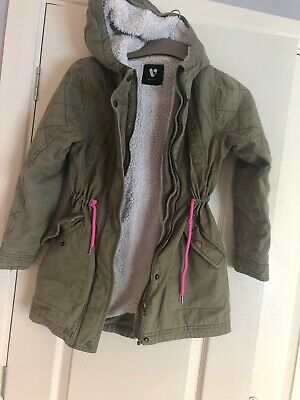 Girls Khaki Fully Lined Hooded Jacket/Coat Aged 9-10