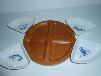 Ringtons Willow Pattern Set 4 Quarter Dishes Wooden Effect Tray / New