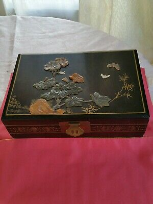Antique Chinese / Japanese Lacquerwaer jewelry box with green  big size rare