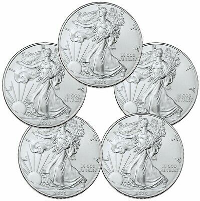 1 oz 2020 American Silver Eagle Coins ( 5 Lot ) + Free Silver Gift PLEASE READ!