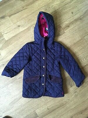 Girls Joules Country Style Quilted Hooded Padded Jacket Blue/Pink 5 Years VGC