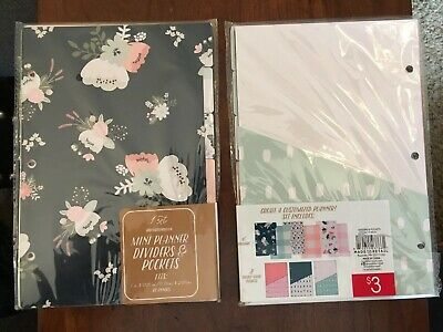 "Mini Planner Dividers & Pockets Fits Mini 3 Ring Binder 7"" 9"" Target Made Retail"