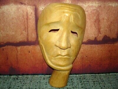Hand Carved Wood Face Mask Wall Mount or Stand Alone THINKER CONTEMPLATIVE Pose