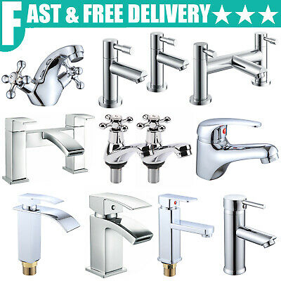 Modern Bathroom Taps Basin Sink Mono Mixer Chrome Cloakroom Tap Hot & Cold Water