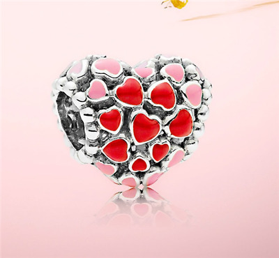 DIY Heart European CZ Crystal Charm Silver Spacer Beads Fit Necklace Bracelet !