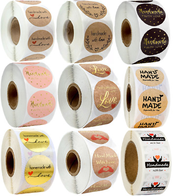 x100 Hand Made With Love Stickers Handmade Homemade Labels Thank You Heart Round