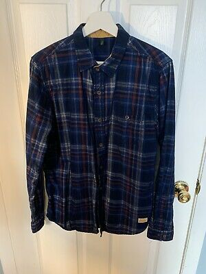United Colors of Benetton Plaid Slim Fit Size Medium Mens Button Down Shirt