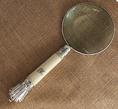 Sterling Silver Rimmed & Carved Handle Magnifying Glass Sheffield 1885