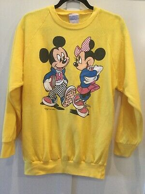 MICKEY MINNIE MOUSE as Students Vtg 70-80s Acrylic Disney Sweatshirt Adult Large