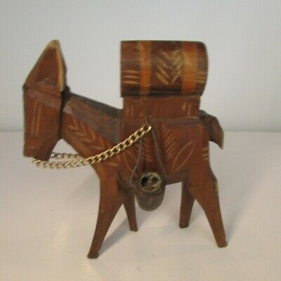 Vintage Hand Carved Wood German Wooden Black Forest Pack Mule Donkey