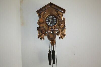 Vintage German Cuckoo Clock With Cast Iron Pine Cone Weights Working Good