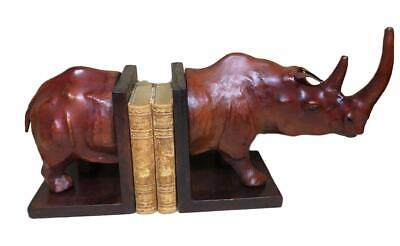Handmade Leather Bookends in the form of a Rhino - 48cm Long