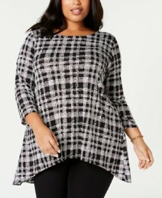 $75 New Alfani Print Woven Back Tunic Top Shirt Women's Plus Size 2X NWT