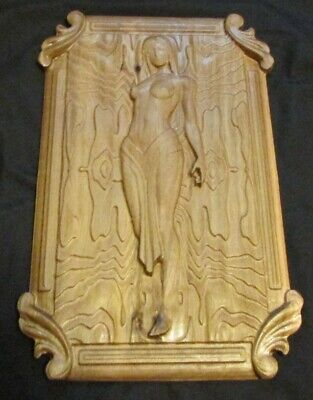 3D poplar wood carved wall decoration plaque.  Nude woman art