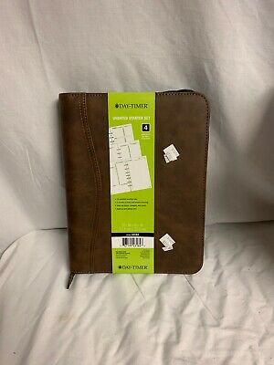 DAY-TIMER Brown Distressed Simulated Leather Desk Day Planner Binder 43184