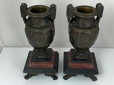 Antique Pair Of C19Th Grecian Neoclassical Bronze Urns On Slate & Marble Bases