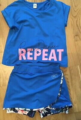 Girls Gym Active Wear Zumba Shorts And T Shirt Top Size Age 7 Years Keep Fit Tu