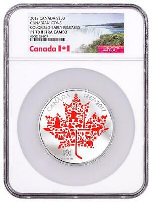 2017 Canadian Icons Maple Leaf 5 oz Silver Colorized $50 NGC PF70 Early Releases