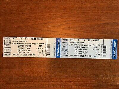 Lynyrd Skynyrd Live in Concert Tickets Madison Wisconsin Saturday Sept 19, 2020