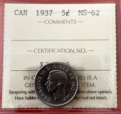 1937 5 Cent Five Canada Nickel Coin - ICCS MS-62