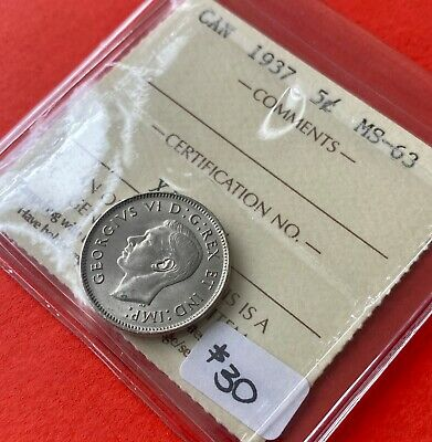 1937 5 Cent Five Canada Nickel Coin - ICCS MS-63