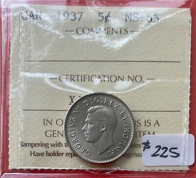 1937 Canada Five Cent Nickel Coin - ICCS MS-65