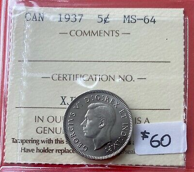 1937 5 Cent Five Canada Nickel Coin - ICCS MS-64