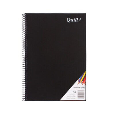 Quill Visual Art Diary PP 110GSM A4 120 Pages - Hard Black Cover