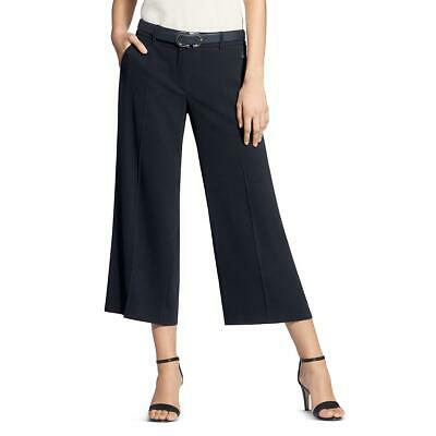 Basler Womens Navy Wide Leg Crepe Office Cropped Pants 8 BHFO 1607