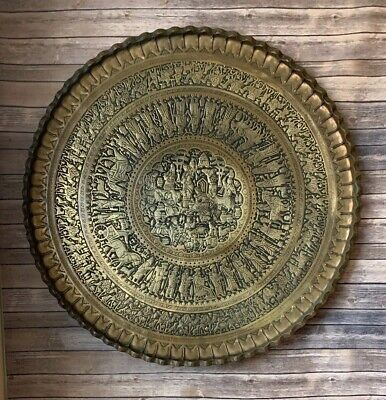 """Antique Persian Arabic Hammered Engraved Brass Table Top Wall Hanging Tray 40"""""""
