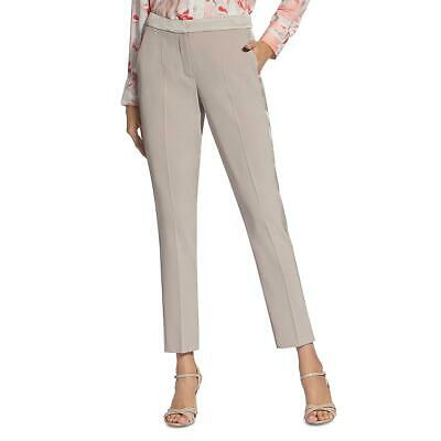 Basler Womens Taupe Contrast Trim Office Trousers Straight Leg Pants 8 BHFO 9146