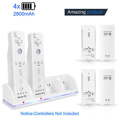 4Pcs Rechargeable 2800mAh Battery +Charging Dock Station for Nintendo Wii Remote