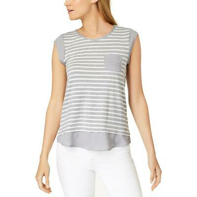 Calvin Klein Womens Gray Striped Contrast-Trim One Pocket Shell Top XS BHFO 1834