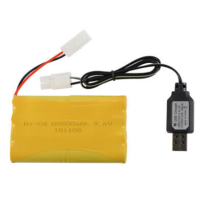 9.6V 800mAh Rechargeable Ni-Cd Battery KTE Plug+USB Charger Cable for Toys BC783
