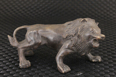 chinese rare bronze hand casting lion statue collection table decoration gift